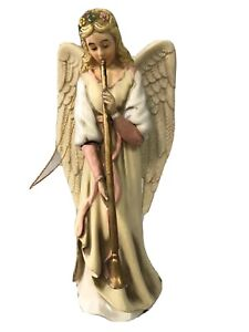 Kurt-Adler-Resin-Angel-Playing-Horn-Trumpet-Christmas-Ornament-5-1-2-New
