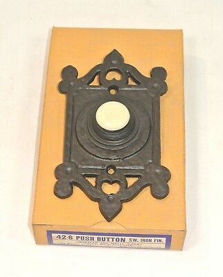 Vintage DOOR BELL Hammered Metal PUSH BUTTON Arts /& Crafts Unused in Box