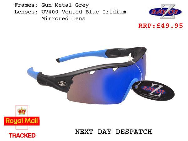 401 RayZor Uv400 Black Sports Wrap Sunglasses Vented Blue Mirrored Lens RRP£49