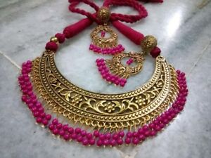 Indian-Ethnic-Traditional-Afghani-Golden-color-Choker-Necklace-Oxidized-Jewelry