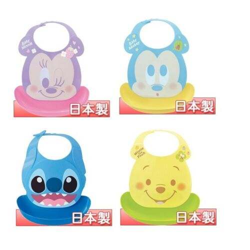 Japan NISHIKIKASEI Disney Minnie Mickey Stitch Baby Toddler Waterproof Bibs R2