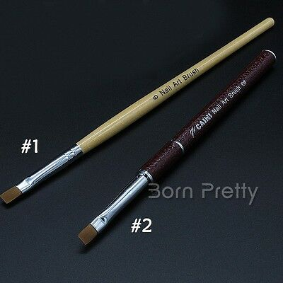 1Pc Mink Hair UV Gel Brush Wooden Leather Handle Painting Pen Nail Art Tools