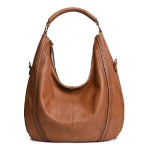 Women/'s Ladies Black Faux Leather Slouch Large Handbag Bag