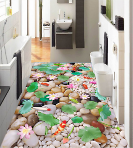 3D Piedra Lotus Koi 52 Piso impresión de parojo de papel pintado mural 5D AJ Wallpaper Reino Unido Limón