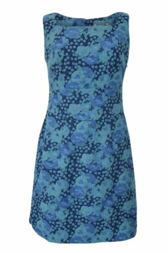 Pepperberry Sz 10-18 Jacquard Textured Cotton Lined Teal Blue Shift Dress Tunic