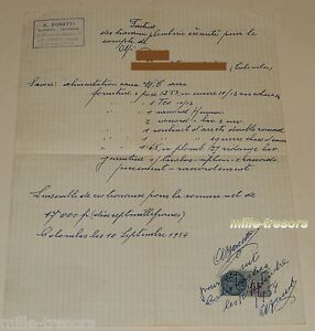 Ancienne-FACTURE-1954-A-BONETTI-Plombier-Couvreur-COLOMBES-Timbre-fiscal