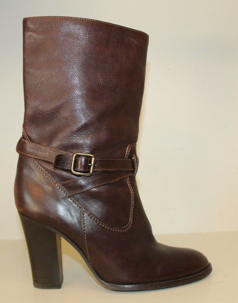 J Crew Donna Boots Sz 8.5 M Brown Leather Mid Calf Heel Shoes Made In Italy