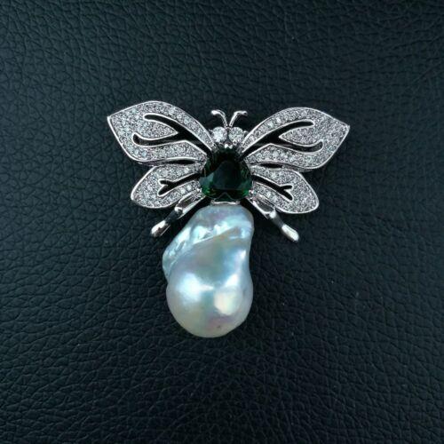 M011413 Butterfly White Keshi Pearl Brooch