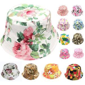 Summer Baby Kids Boys Girls Floral Boho Caps Beach Bucket Hats Sun ... 5a37bac52939