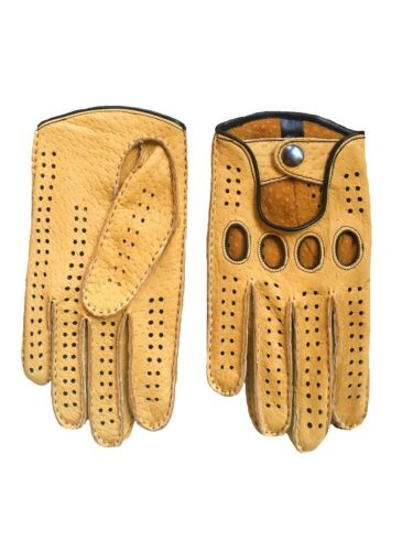 Men/'s Peccary Leather Driving Gloves Hand Sewn Yellow With Black Stitching