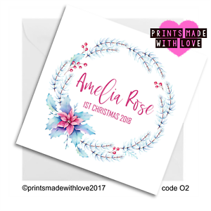 Christmas Card Printing.Details About Babies First Christmas Card Personalised New Baby 02 Floral