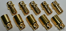 5 Male / 5 Female HXT 8MM Sprung Gold Bullet Connector Plugs - 170+ Amps