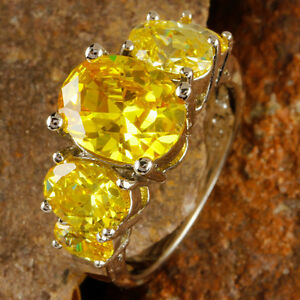 Delicate-Fashion-Jewelry-Oval-Cut-Citrine-Gemstone-Silver-Ring-Size-6-Free-Ship