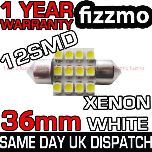 12 SMD LED 239 272 36mm 37mm WHITE NUMBER PLATE INTERIOR DOME LIGHT FESTOON BULB
