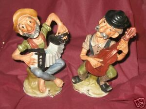2-Vintage-Old-Men-Playing-Musical-Instruments-Marked-Wales-Japan