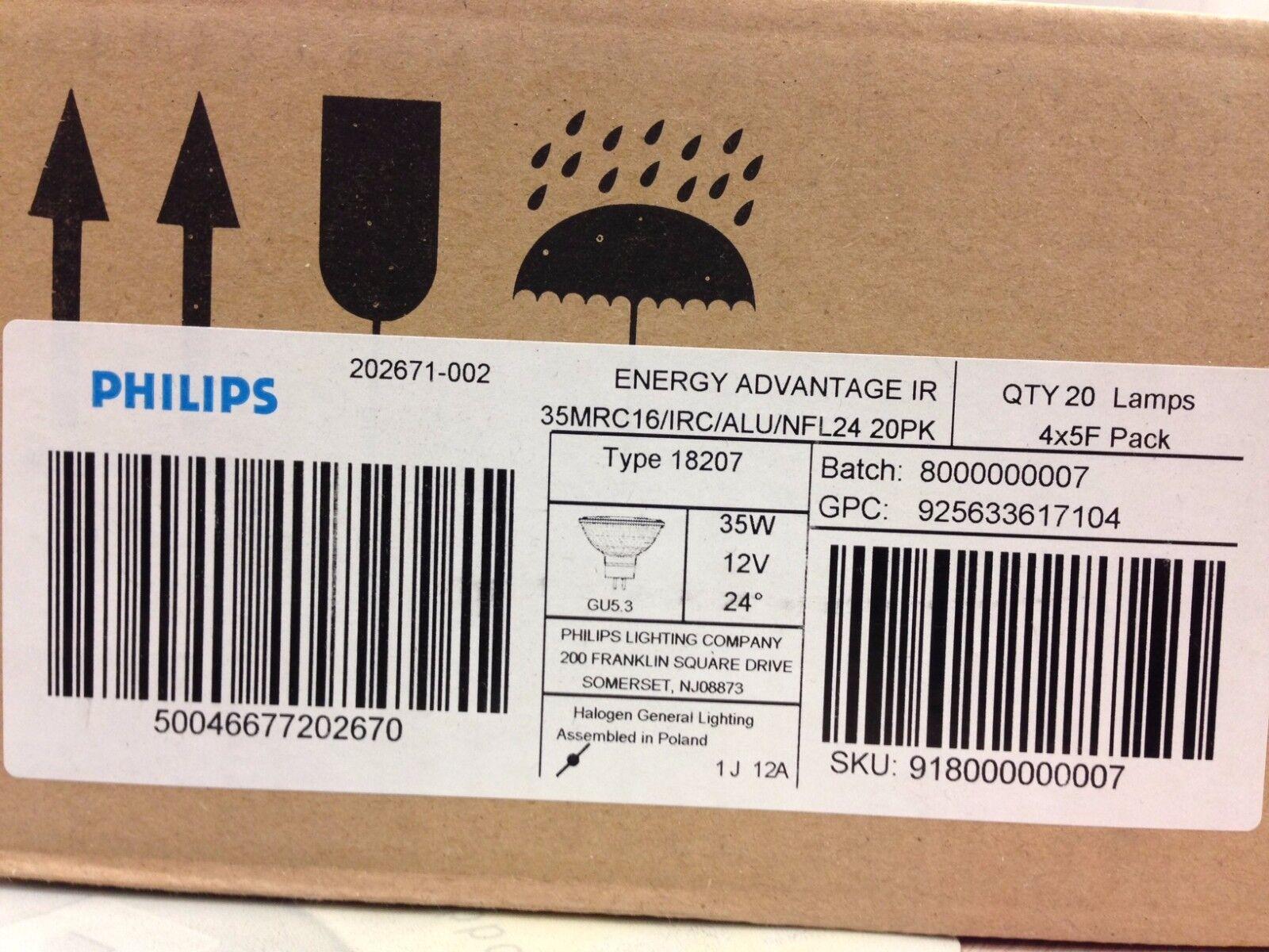 20 PHILIPS 202671 35MRC16//IRC//ALU//NFL24 FRA MR16 GLASS FACE IR-ENERGY ADVANTAGE