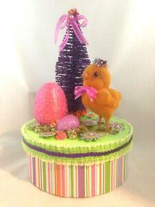 Vintage-Flocked-Easter-Chick-w-glass-eyes-Paper-Box-Glittered-Tree-Eggs-Flowers