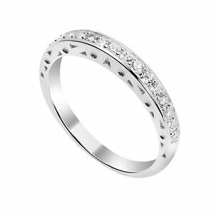 925-Sterling-Silver-amp-CZ-Crystal-Half-Eternity-Ring-Rings-Size-I-U