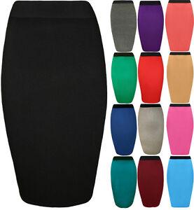 New-Womens-Plain-Elastic-Waist-Bodycon-Stretch-Ladies-Pencil-Midi-Skirt-8-14