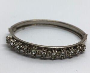 Vintage-Bracelet-7-Rhinestone-Bangle-Hinged-Clear-Silver-Tone