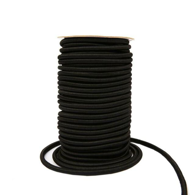 "3//16/"" Black Bungee Cord Marine Grade Heavy Duty Shock Rope Tie Down Stretch Band"