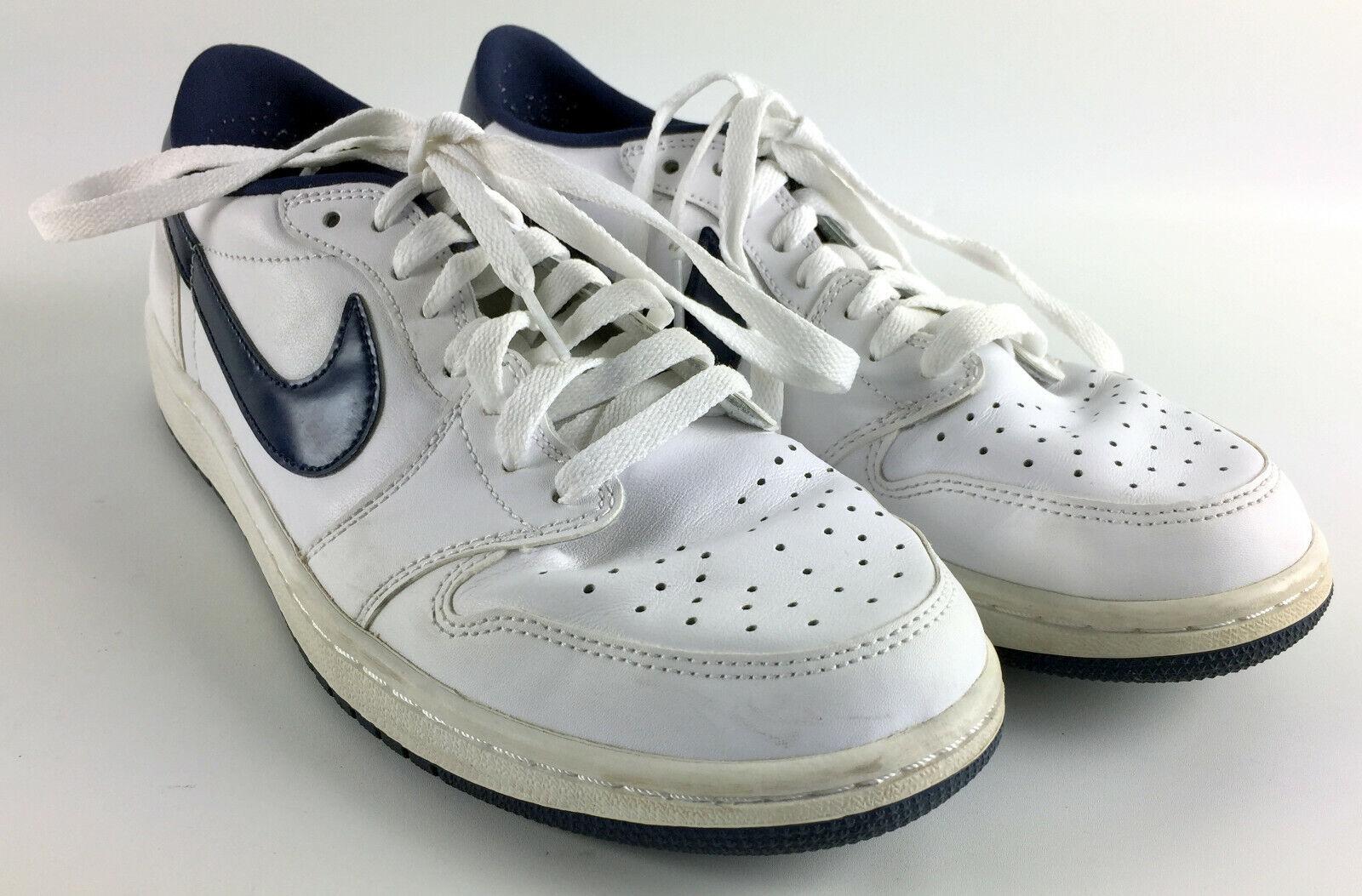 detailed look 43f8c 5bc64 Nike Air Jordan Retro 1 Low OG Size 10.5 White Metallic Blue 705329 ...