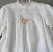 Antique c1900 Batiste BABY Doll CHRISTENING Dress Hand Embr FRENCH LACE Pintucks