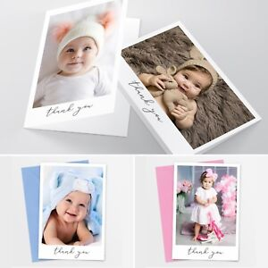 Folded New Baby Thank You Cards Personalised Christening Birthday Girl Boy #041