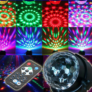 Colorful Lighting Rotating Lamp Party Bar Effect Lights Stage + Remote Control