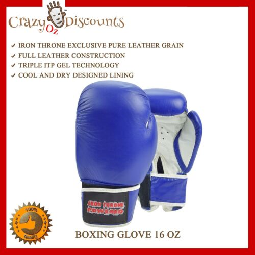 16 oz Sparring Training Gloves Leather Kick Boxing Muay Thai Punching Martial Ar