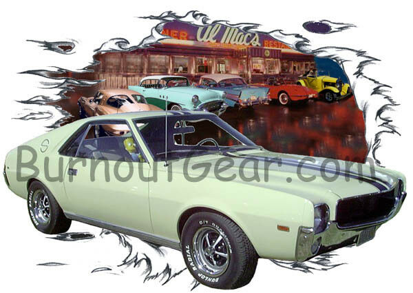 1969 Tan American Motors AMX Custom Hot Rod Diner T-Shirt 69 Muscle Car Tees