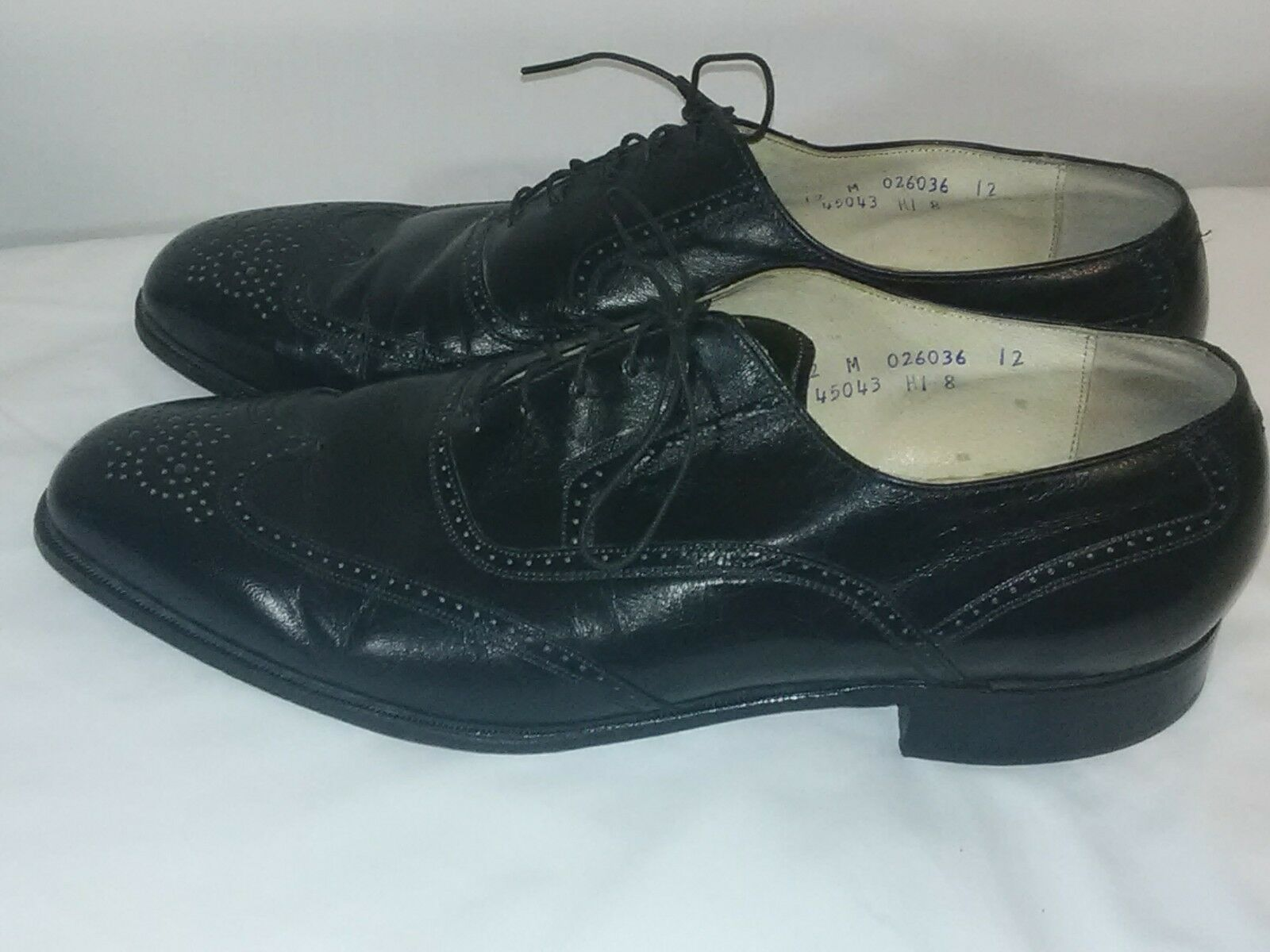 Mens shoes French Shriner Size 12 M Oxford Wingtip Brogue Black Leather