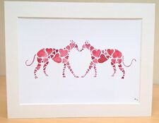 "Greyhound Whippet Lurcher Dog Painting Art Print valentines Gift, A4 Mount11x14"""