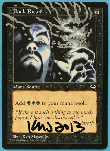sa5979 ABUGames Dark Ritual Tempest NM Black Common Artist Signed Altered CARD