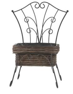 Rustic-Metal-Mini-Seat-Planter-Holder-with-Lined-48cmH-x-36cmW-Brown-Willow-Box
