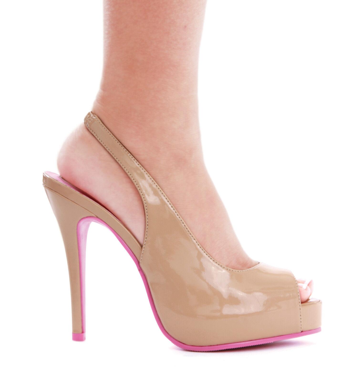 Ellie 451-MaryEllen open platform open 451-MaryEllen toe slingback 4 inch high heel nude pumps shoe 4dda78