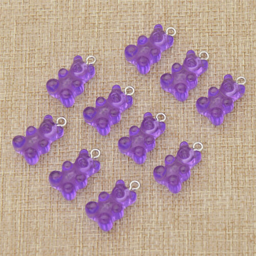 Kawaii Resin Cartoon Bear Pendant Charm Necklace Jewelry Making Handcrafts 10pcs