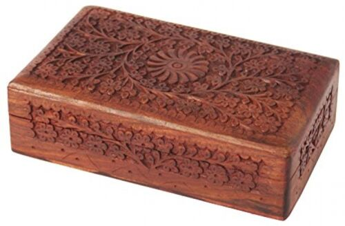 Store Indya Exotic Hand Carved Wooden Jewelry Trinket Box Keepsake Storage With