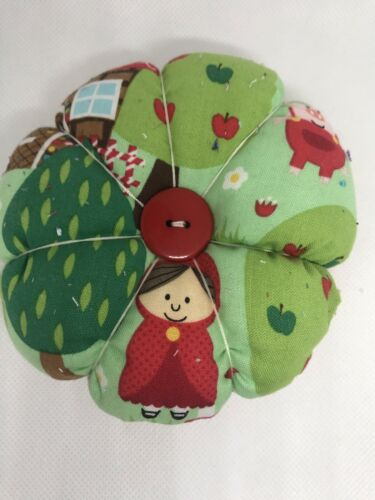Large Little Red Riding hood fabric flower style pin cushion handmade GIFT