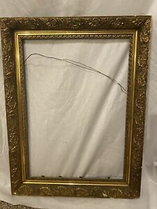 ORNATE-ANTIQUE-GOLD-GESSO-3-PART-FRAME-19-X-25-Wood-Frame