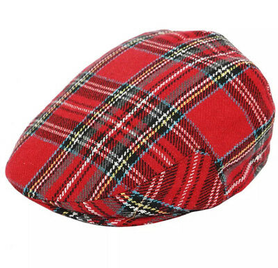 Red//blue Tartan cotton Baker boy flat cap 2 colours one size .FREE fast post.