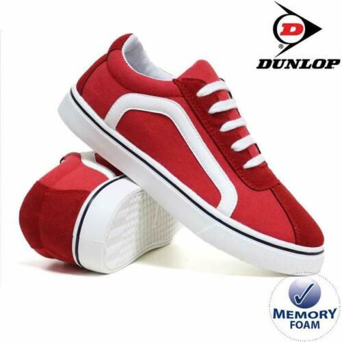 WOMENS DUNLOP MEMORY FOAM RED WHITE LACE-UP PLIMSOLLS PUMPS SHOES TRAINERS 3-8