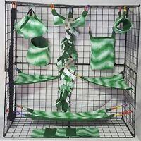 Kelly Green Wave 15 Piece Sugar Glider Cage Set Rat Double Layer Fleece