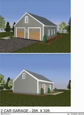 GARAGE PLANS BLUEPRINTS 28 FT  X  32 FT,  OVERSIZED 2  CAR