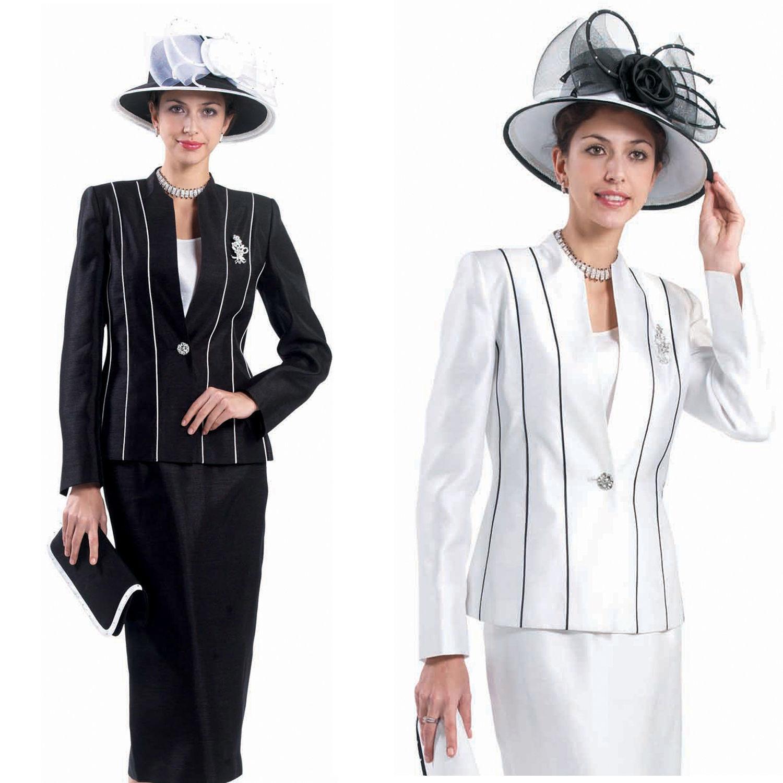 Sunday Best Damen Kirche Anzug Schwarz Weiß Streifen Weiß Schwarze L 350