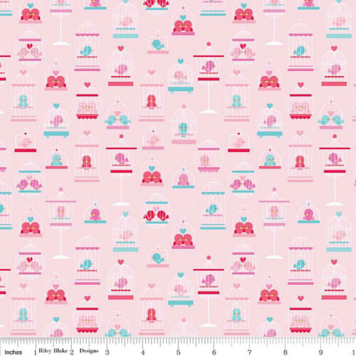 Riley Blake Lovey Dovey Fabric C3650 PINK LOVE BIRDS 100/% Cotton material hearts