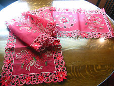 "Christmas Embroidered Table Runner Cut Work  Poinsettia 16"" x 70"" Red Gold NEW"