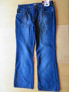 Vita 66 Route Donna Bassa Jeans Da Pantaloni Nuovo Ricamato Denim Blu Perline 6ZxqwWtv