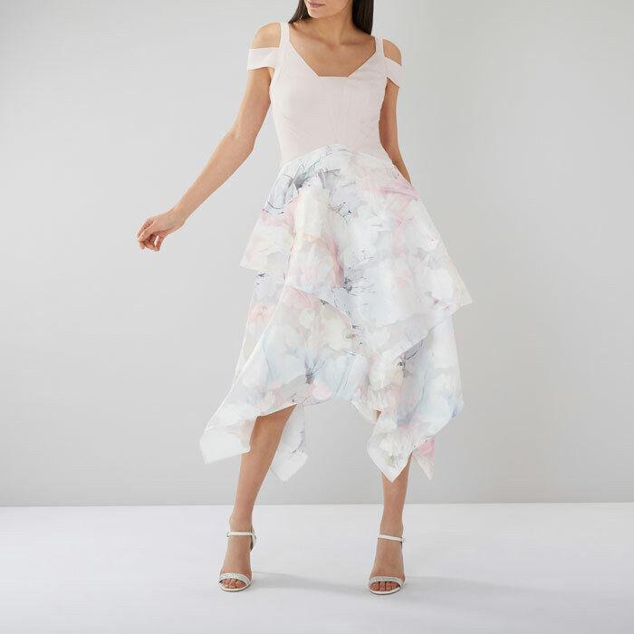 New Coast Vinca Print Clipped Asymmetric Midi Dress Sz UK 16 rrp