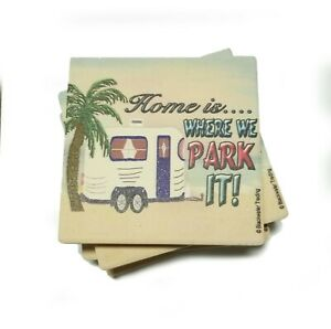 Set Of 4 Caravan Coasters /'Home Is Where You Park It/' Coffee Table Coaster Set